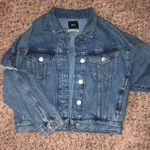 denim jacket with ruffle detail
